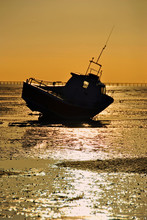 Sunset Over The Boats In Thorpe Bay, Southend On Sea, Essex, England, United Kingdom