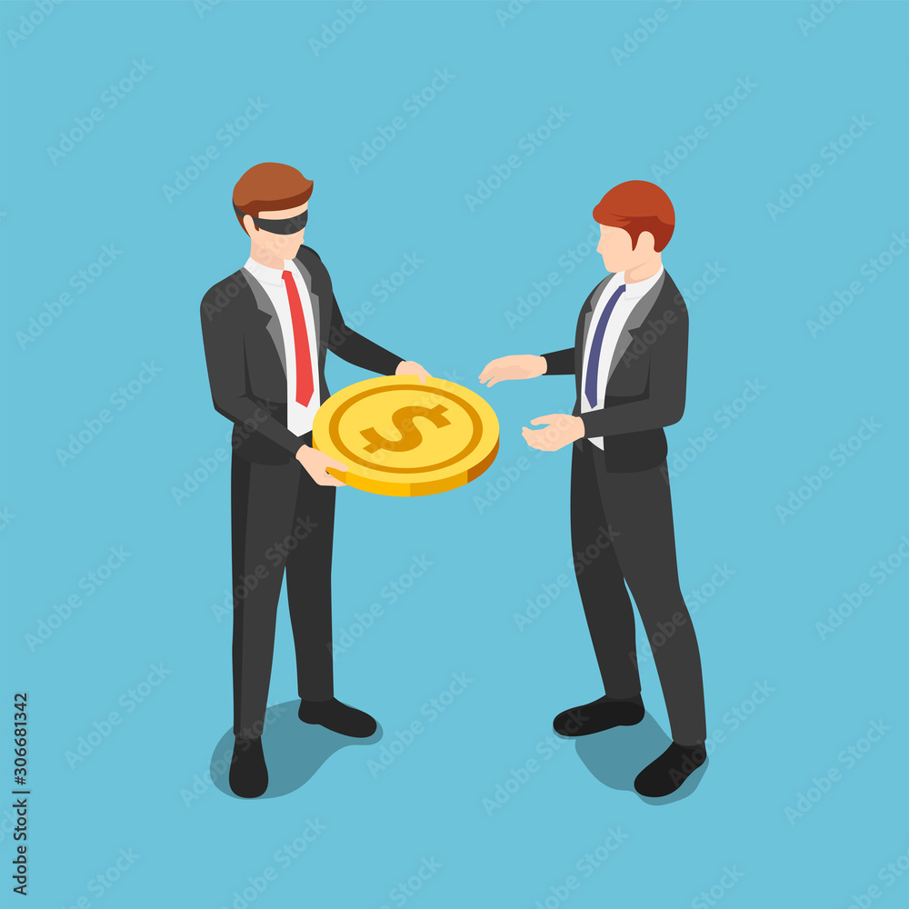 Fototapeta Isometric blindfolded businessman giving money to other business people