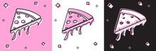 Set Slice Of Pizza Icon Isolated On Pink And White, Black Background. Vector Illustration