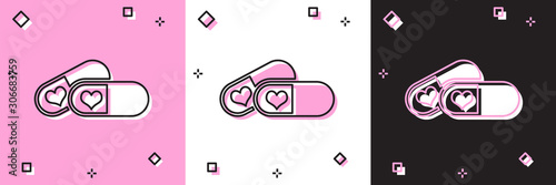 Set Pills for potency, aphrodisiac icon isolated on pink and white, black background Wallpaper Mural