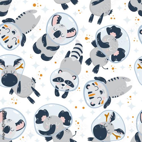 wzor-z-cute-astronautow-zwierzat-na-bialym-tle-ilustracji-wektorowych-eps