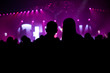 canvas print picture - silhouettes of people at a concert in front of the scene in bright light