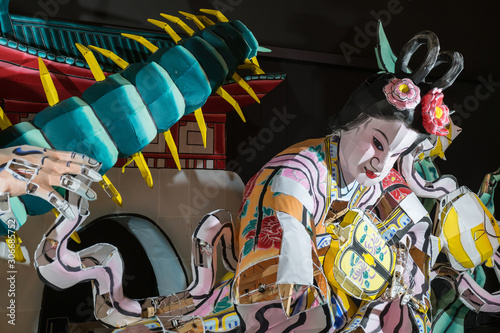 AOMORI, JAPAN - October 23 2017 : Lantern float for Nebuta Festival, Nebuta festival is held annually from August 2-7 in Aomori, Japan Canvas Print