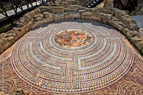 Impressive and very well preserved mosaic in the House of Theseus, at the Archaeological Park of Kato Paphos (UNESCO World Heritage Site), Cyprus Canvas Print
