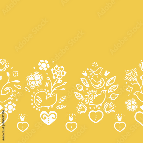 Fotografija Delicate seamless vector folk art floral boder with lace style burning heart in white line art