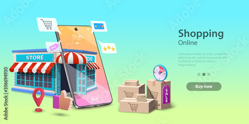 Online Shopping Landing Page Template, Mobile Store Concept, Fast Delivery Service Fototapeta