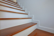 Brown Wooden Stair And White W...