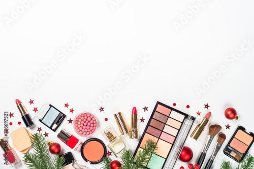 Poster Fleur Makeup professional cosmetics with christmas decor.
