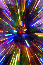 Laser Tree Lights Effects Coming Out Of Red Ornament