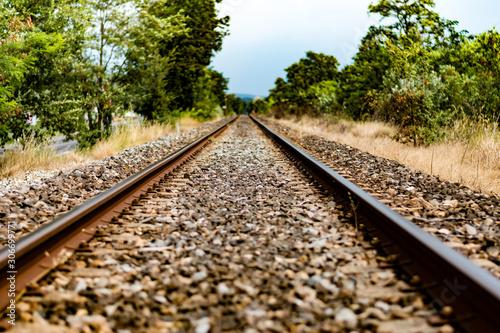 Voie de chemin de fer, passage de train de marchandise, transport du futur, apt, Canvas Print