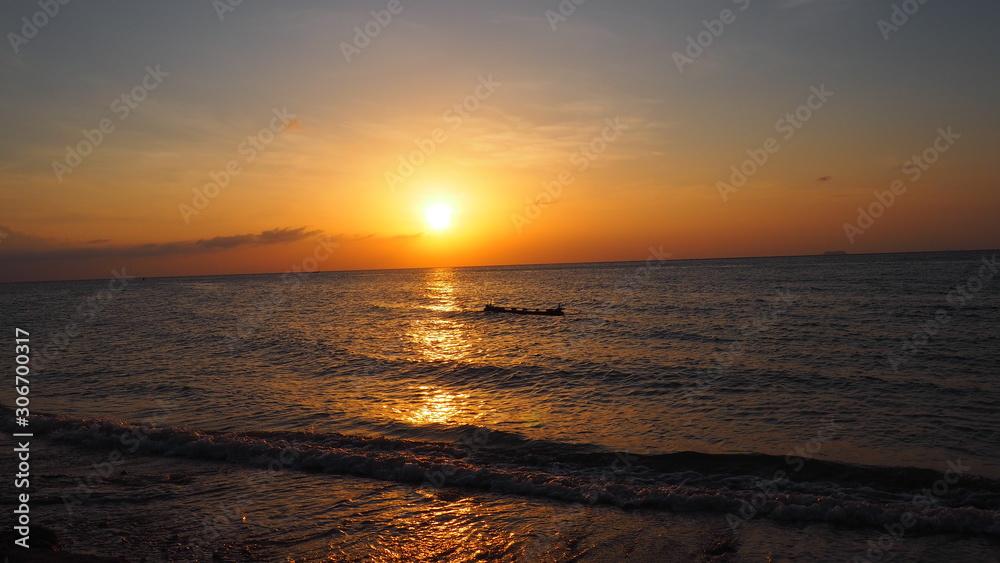 sunset sun raft cast away castaway thailand water sea