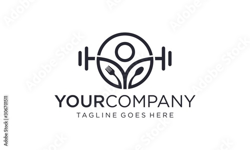 Symbol of Healthy lifestyle for Fitness center, and vegetarian food stores, cafe, restaurant