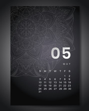 May 2020 Monthly Calendar With Beautiful Mandala Design. Round Pattern Ornament For Holiday Event Planner