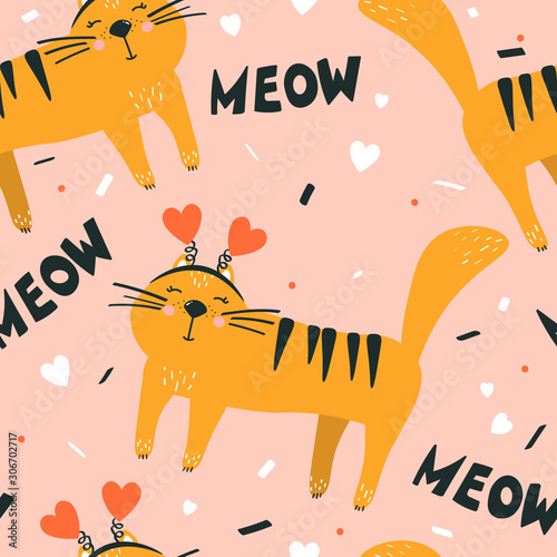 Happy cats, hand drawn backdrop. Colorful seamless pattern with animals, hearts, english text. Decorative cute wallpaper, good for printing. Overlapping background vector. Design illustration