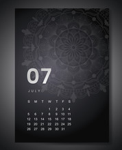 July 2020 Monthly Calendar With Beautiful Mandala Design. Round Pattern Ornament For Holiday Event Planner