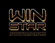 Vector Chic Sign Win Star. Gold And Black Modern Font. Chic Alphabet Letters And Numbers