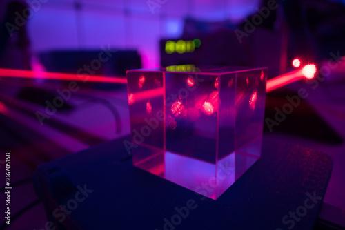 Fotomural  laser beam in optical laboratory