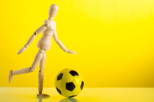 Wooden Man Figure With Soccer ...