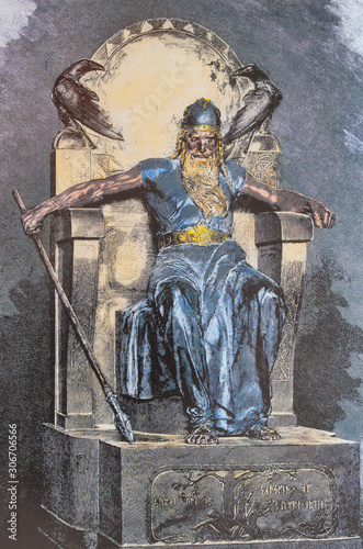 Odin on his throne. Odin is the supreme god in Norse mythology Wallpaper Mural