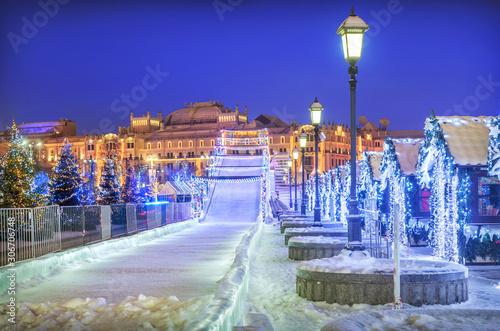 Vászonkép Новогодняя горка  New Year Snow ice slide