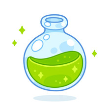 Cartoon Green Potion Bottle