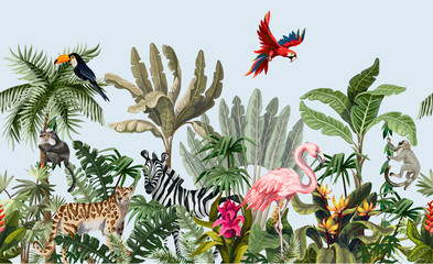 FototapetaSeamless border with jungle animals, flowers and trees. Vector.