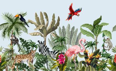 Panel Szklany Podświetlane Zwierzęta Seamless border with jungle animals, flowers and trees. Vector.