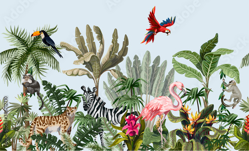 Fotografía Seamless border with jungle animals, flowers and trees. Vector.