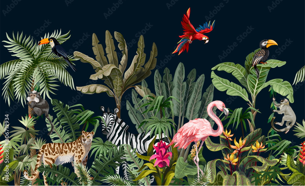 Fototapeta Seamless border with jungle animals, flowers and trees. Vector.