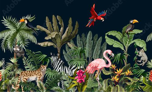 Seamless border with jungle animals, flowers and trees. Vector. © Yumeee