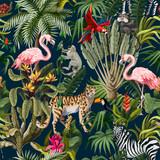 Wzór z dżungli zwierząt, kwiatów i drzew. Wektor. - 306713101
