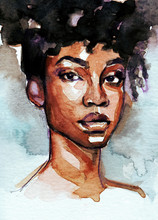 Beautiful Black Woman Portrait In Gouache And Watercolor On Background