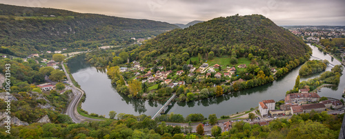 Photo Panoramic view of the river Adige from the Citadel of Besancon in Bourgogne Franche-Comte region in France