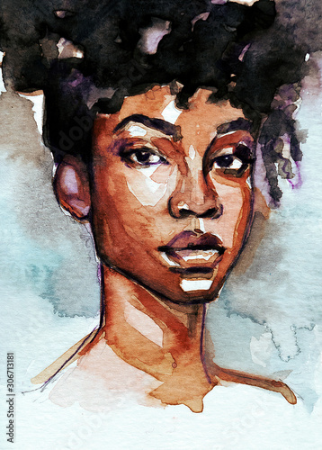 Beautiful black woman portrait in gouache and watercolor on background Canvas Print
