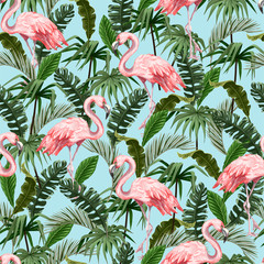 FototapetaSeamless pattern with flamingo and tropical leaves. Vector.