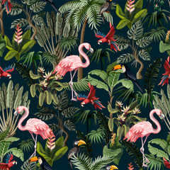Fototapeta Popularne Seamless pattern with jungle animals, flowers and trees. Vector.