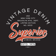 Vintage Denim Typography Graph...