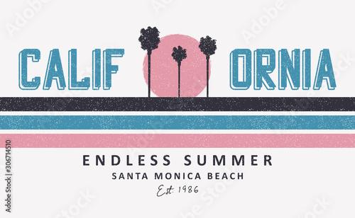 Leinwand Poster California, Santa Monica t-shirt design with palm trees and sun
