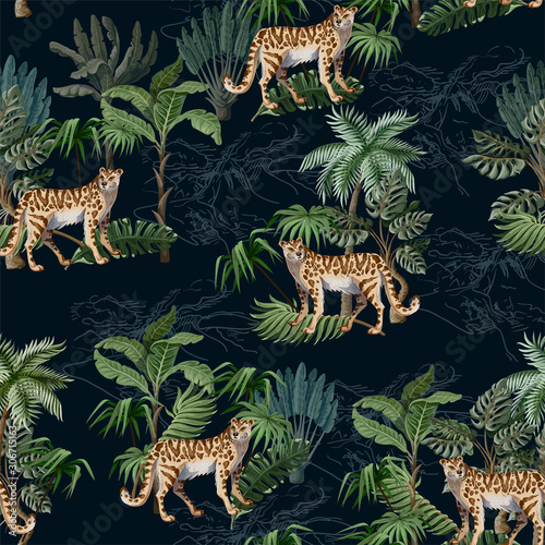 Seamless pattern with leopard and tropical landscape. Vector. Fototapeta