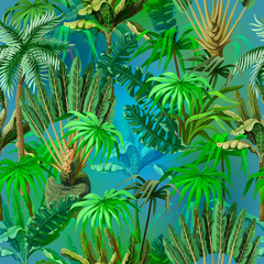 Panel Szklany Malarstwo Vivid seamless pattern with jungle trees. Vector.