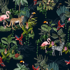 Fototapeta Do salonu Seamless pattern with jungle animals, flowers and trees. Vector.