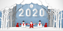 Paper Art, Cut And Digital Craft Style Of Anta Claus On Sleigh And Reindeer With 2020 Label In The Merry Christmas Night And Happy New Year 2020 As Holiday And X'mas Day Concept. Vector Illustration.