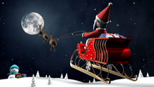 SantaClaus Flying To Full Moon...