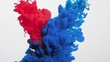 Paint infusion in water. Chemical polarity. Navy blue red ink mix motion on white background.