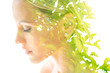 Leinwanddruck Bild - Double exposure close up profile portrait of a young pretty woman interwoven with bright leaves of a vibrant tropical tree