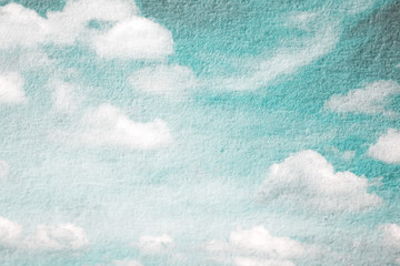 FototapetaDouble exposure of cloud and sky of paper texture for background Abstract,postcard nature art pastel style,soft and blur focus.