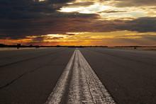 Runway In Sunset. Edited Photo.