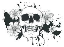 Human Skull And Flower Wreath. Los Muertos. Vector Illustration.