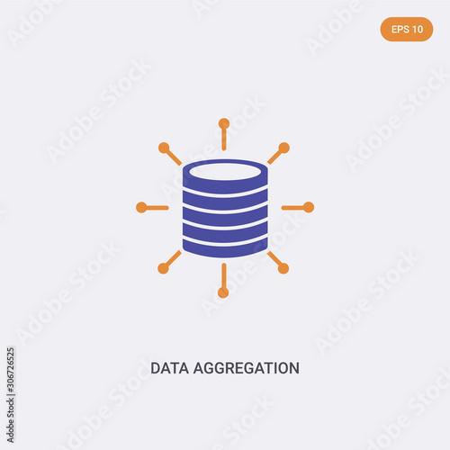 Photo 2 color data aggregation concept vector icon