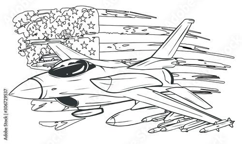 Tableau sur Toile Vector Cartoon Fighter Plane